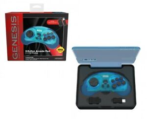 Retro-Bit-Official-SEGA-Genesis-Wireless-8-Button-Gamepad-Controller-CLEAR-BLUE
