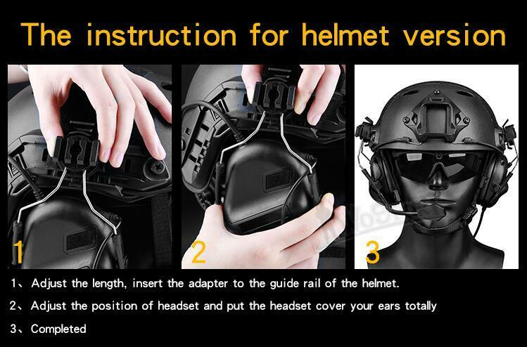 Hunting Tactical Airsoft Paintball Communication Helmet Guide Rail Headset