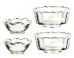 Set-Of-4-Clear-Bowls-Dolls-House-Miniatures-Kitchen-amp-Dining-1-12-Scale