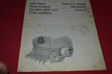 John Deere Straw Chopper For 6600 7700 Combine Operator's Manual DCPA4