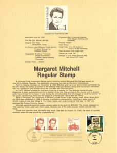 USPS-Souvenir-Page-8618-Margaret-Mitchell-2168w-Gone-with-the-Wind-CTC-FDC