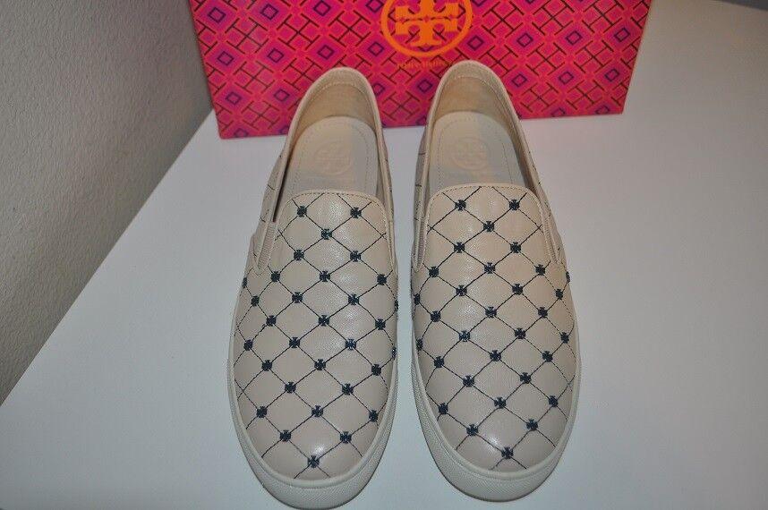 Tory Burch Women Latte Bright Navy Quilted Stitch Studded Slip Slip Slip On Sneaker 8.5 M c2ee03
