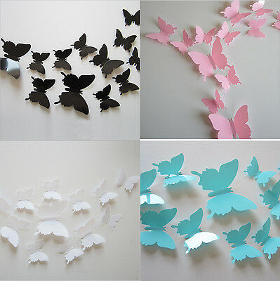 12Pcs 3D Butterfly Design Art Decal Wall Stickers Home Room Decor Removable DIY