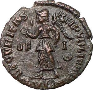 GRATIAN-367AD-Authentic-Ancient-Roman-Coin-Lugdunum-mint-RARE-Victory-i20280