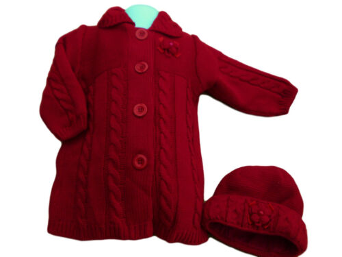 Bnwt Bébé Filles Noël rouge grosse maille hiver Cardigan Manteau Chapeau Set