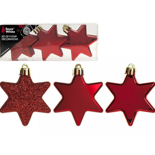 9 pcs 60mm Red Christmas Tree Star Decorations Ornaments Xmas Hanging Baubles UK