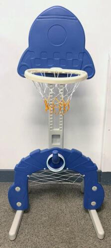 2 Colours Fun For All Ages Rocket Basket Ball 3 IN 1 Hoop /& Football Stand