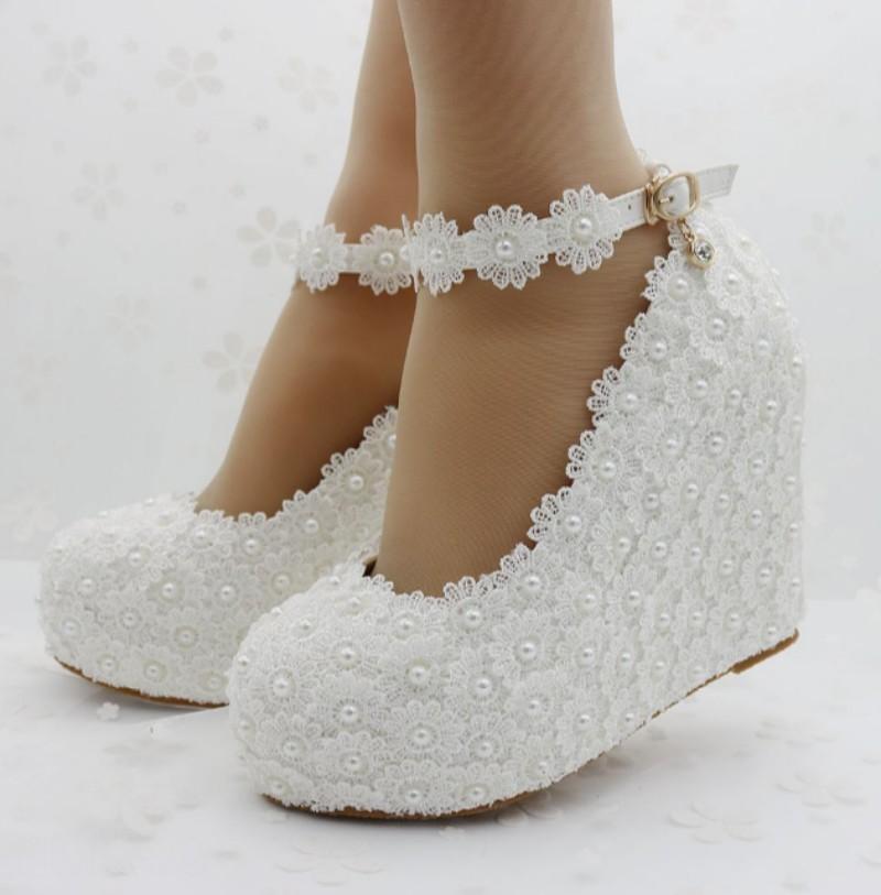 Cuña con Plataforma Sz35-42 de Boda para Mujer de Tacón Alto Zapatos De Hebilla De Perlas De Flores De Encaje