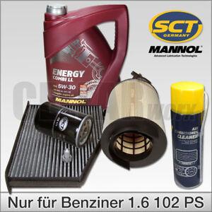 VW-Golf-5-6-Touran-Audi-A3-1-6-102-PS-Inspektionspaket-Filter-Klimaspray-5W30