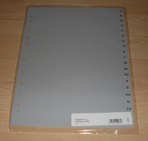 Register 20-teilig mit den Buchstaben A-Z grau DIN A4 Trennblätter abheften Neu