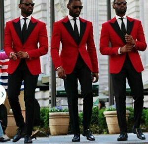 Fashion-Red-Paisley-Men-039-s-Suit-2-pieces-Tuxedos-Jacquard-British-style-Custom