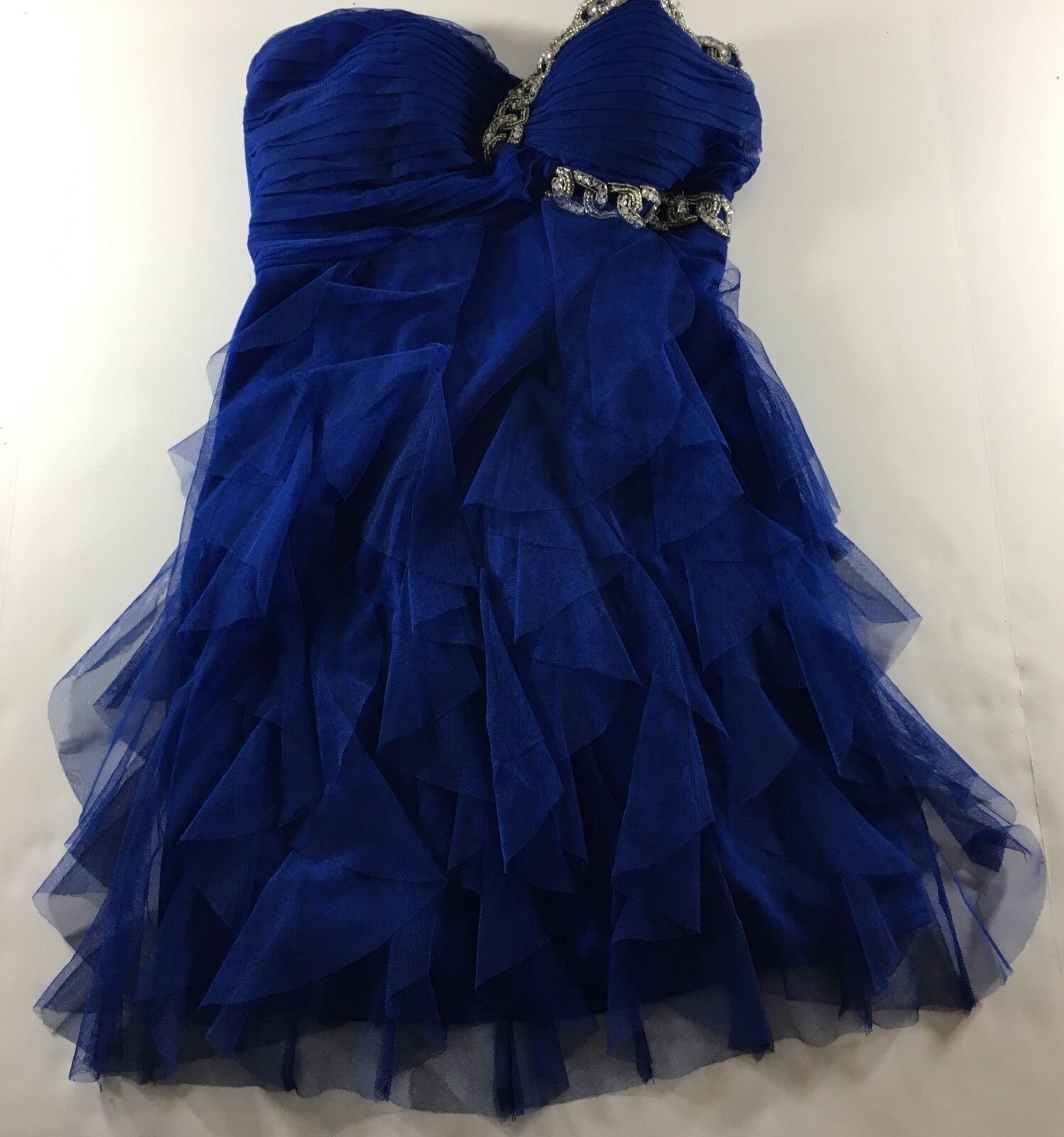 Blondie Nites Dress Junior Size 3 bluee Strapless Ruffles Rhinestones Prom Formal