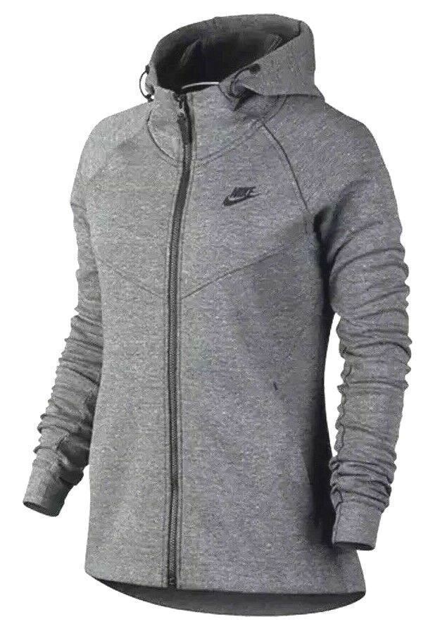 NIKE  120 WOMEN'S  SPORTSWEAR TECH FLEECE WINDRUNNER HOODIE CARBON 842845 LARGE
