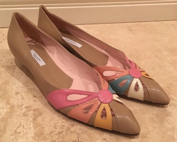 POLLINI Teal Pink Tan Orange Leather Pointy Toe Low Heel Pumps 40 9.5 Italy NEW!