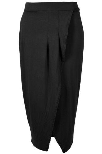 Womens Ladies Bodycon Pleated Wrap Cross Hi Waist Stretch Pencil Tube Midi Skirt