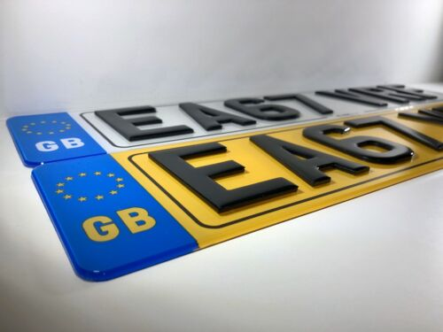 Pair Of Road Legal Front /& Rear 3D Laser Cut With GB Flag /& Border Number Plates