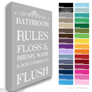 Image Is Loading Bathroom Rules Canvas Floss Brush Wash Flush Print
