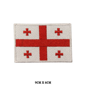 Georgia National Flag Embroidered Patch Iron on Sew On Badge For Clothe etc