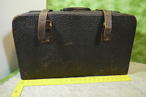 Image Is Loading Vintage Luggage Suitcase Leather Brown Around 24 034