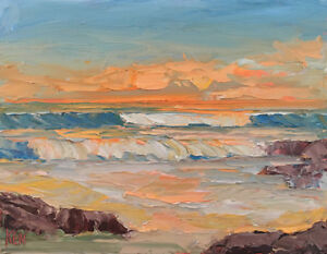 ORANGE-LINES-Original-Expression-Seascape-Oil-Painting-14x18-080318-KEN