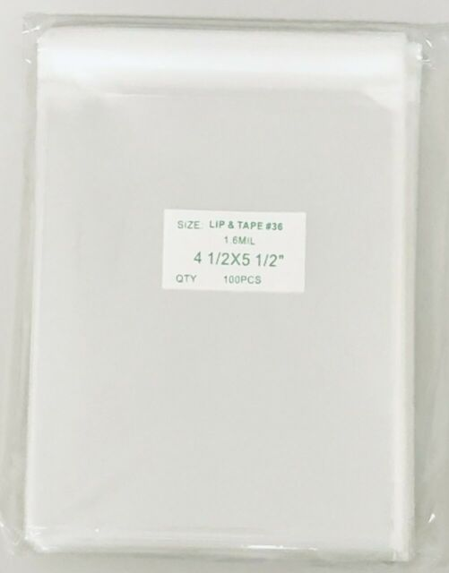 """100 Super Clear 4 1//2/"""" x 5 1//2/"""" Resealable Cellophane Lip and Tape Bags 1.6mil"""