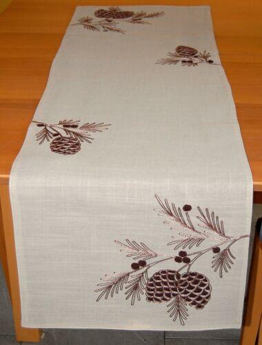 Hossner Tischdecke Mitteldecke Kissenhülle Kissenbezug Beige Tannenzapfen Braun