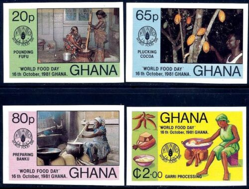 GHANA 1981 FAOWORLD FOOD DAY SC#76568 MNH IMPERF nonDENTELE COCOA FIRE DEL17