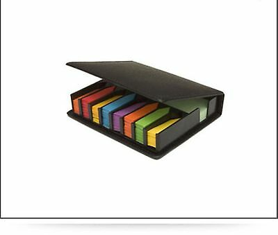 Post It Type Sticky Notes Pad & Index Tabs in Leather Look Desktop Box Set New