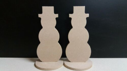 5 x Mdf Snowman on a detachable Stand 10cm x 4.5cm 4mm Medite Premier mdf