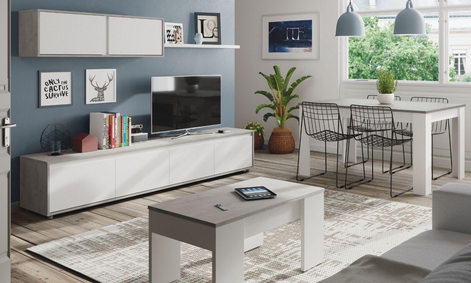 Pack mobiliario salon mueble modular mesa centro y mesa comedor estilo moderno
