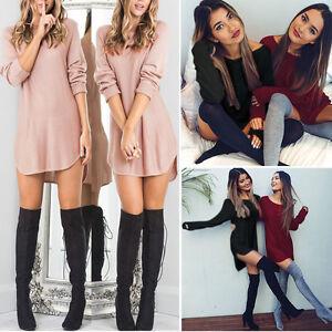 Damen-Bluse-Longshirt-Langarm-Tunika-Casual-Oberteil-Shirt-Hemd-Pullover-Pulli