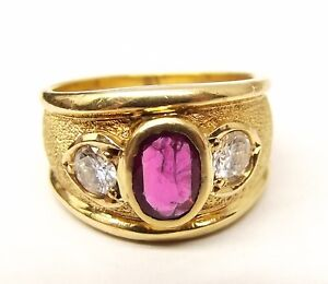 Vtg-18K-Gold-Ladies-Diamond-Natural-Ruby-Ring-Sz-5-75-42-TCW-78-Carat-Heavy