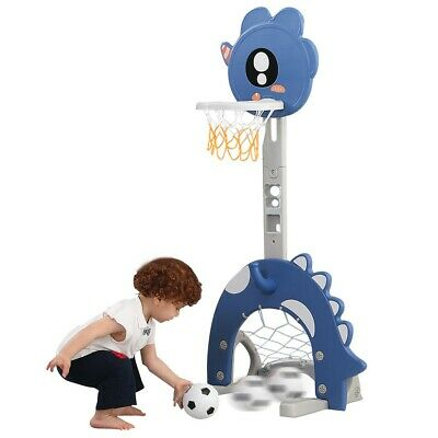 4In1 Adjustable Basketball Hoop Stand With Ring Toss Soccer Goal System Playset