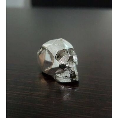 3D low poly Sterling silver skull pendant necklace - Skull pendant