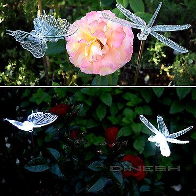 Solar LED Solarlampe Libelle, Schmetterling Weißes LED Garten Solarleuchten NEU