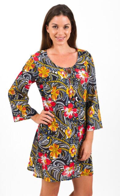 """New Spirituelle Cotton Beach Cover Up Kaftan Dress - """"Hibiscus Sunset"""" M-3XL"""
