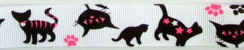 "3 yrds 7//8/"" BLACK pink cat on WHITE grosgrain new RIBBON craft BOWS scrapbooking"