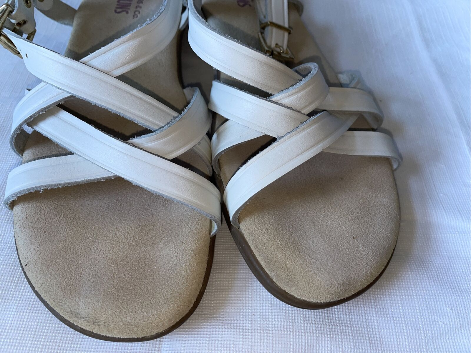 GH BASS Sunjuns Women's White Leather Sandals Str… - image 8