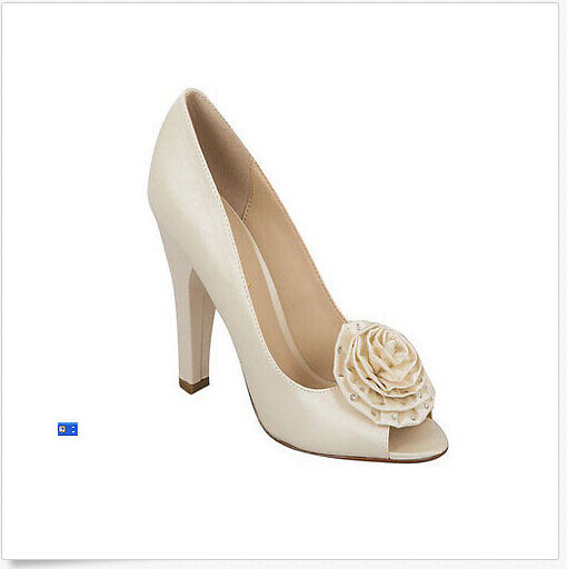 Brianna Leigh Penelope Chaussures Taille 5.5 Couleur Beige Soie Haut