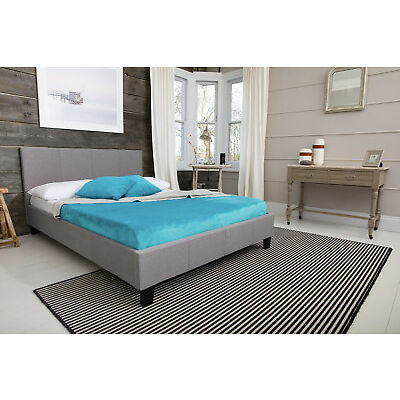 MODERN DESIGNER BED 4FT6 DOUBLE & 5FT KING SIZE FABRIC LEATHER BEDS GREY