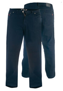 Duque-Mens-Jeans-Stretch-cintura-elastica-Grande-Negro-Grande-Tallas-42-034-60-034-KS1542