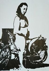 Unikat Mooseart Akt erotisches Gemälde Acryl auf Papier ca. 42x59cm A2 Original