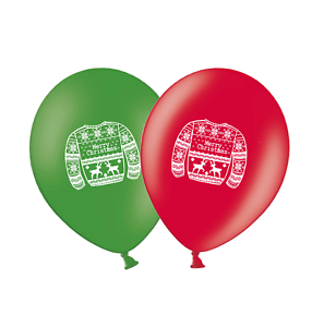 Christmas-Jumper-12-034-Printed-Latex-Balloons-Green-amp-Red-Assorted-Pack-of-5
