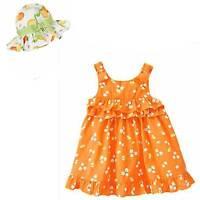 Gymboree Lemon Bumblebee Orange Sun Dress & Print Sunhat Set 3 6