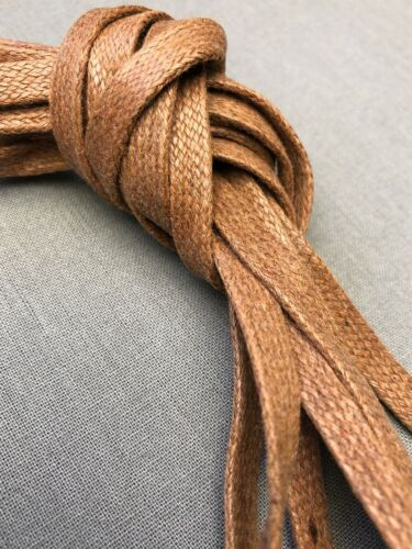 Light Brown Bootlaces Flat Waxed Cotton 47 Inch 5-6 Eyelet Hiking Work Boot
