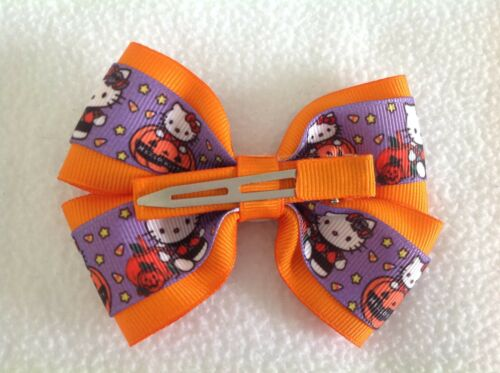 "Girls Hair Bow 4/"" Wide Halloween Hello Kitty Flatback Alligator Clip"