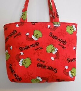 Image Is Loading Handmade Christmas Merry Grinchmas Seuss Grinch Tote Purse