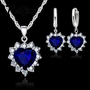 925-Sterling-Silber-Halskette-mit-Herz-Anhaenger-Ohrringe-in-Titanic-Design-Damen