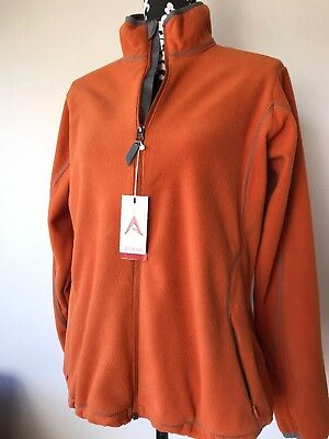 Womens New Antigua Sz L Fleece Zip Up Pumpkin Orange Pockets NWT