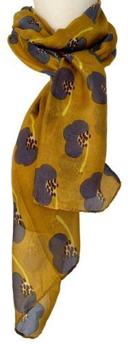 Floral Silk Scarf Mustard Yellow Ladies Grey Flower Print Flowers Pure Silk